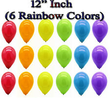 """12"""" Assorted Rainbow 6 Color Mix Metallic Balloons Helium/Air Fill Event Decor"""