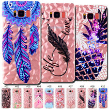 Soft Skin Cute Clear Case Cover TPU Pattern Diamond Protective Back For Samsung
