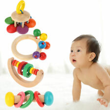 Child Kid Baby Wooden Bell Rattle Toy Hand Bell Musical Educational Instrument F