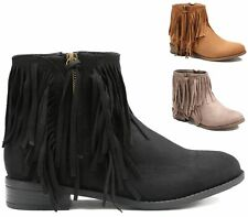WOMENS LOW BLOCK HEEL CHELSEA TASSEL FRINGE ANKLE BOOTS LADIES SHOES SIZE 3-8
