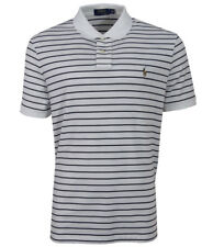 Ralph Lauren Mens Striped Short Sleeve Polo Top Shirt Classic Fit - White/Navy