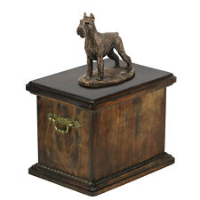 Schnauzer Memorial Urn for Dog's ashes,with Dog statue Solid Wood Casket for Dog