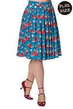Christmas Drive Thru Vintage Retro Rockabilly Pleated PLUS Skirt Banned Apparel
