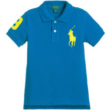 Ralph Lauren Youths  Short Sleeve Polo Top Shirt Large Logo Turquoise/Yellow