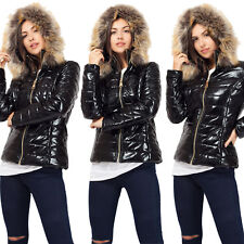 Ladies Women's Quilted Puffer Wet Look Padded Jacket Fur Hooded Warm Thick Coat