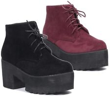 Women Fashion Block Heels Ankle Boots Ladies Punk Lace Up Chunky Platform Shoes