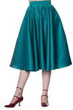 Teal Swing Flared Vintage Retro 50s Rockabilly Pin Up Midi Skirt Banned Apparel