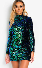 IKRUSH Womens Fallon Sequin Embellished Velvet Mini Dress