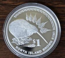 2006 New Zealand $1 (One Dollar) 999 Silver Proof Coin, North Island Brown Kiwi