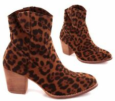 WOMENS BROWN LEOPARD HIGH HEEL COWBOY PULL ON SLOUCH ANKLE BOOTS SHOES SIZE