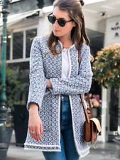 ZARA BLUE COTTON FRAYED PRINTED COAT SIZES XS & S NEW TAGS