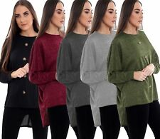 Womens Long Sleeve High Low Top Ladies Front Button Batwing Tops Blouse UK 8-22