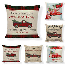 Red Farm Fresh Christmas TreeThrow Pillow Case Truck Happy Camper Cushion Cover