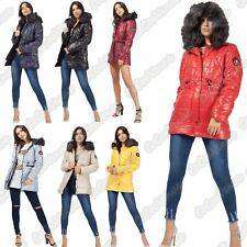 Ladies Faux Fur Hood Quilted Padded Badge Toggle Waist Shiny Jacket Winter Coat