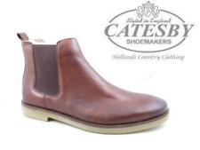 Mens Leather Dealer Boots Catesby Chelsea Ankle Pull On Crepe Rubber Sole Brown