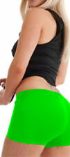 LADIES WOMEN NEON LYCRA STRETCHY HOT PANT SHORTS DANCE GYM PARTY GREEN COLOUR