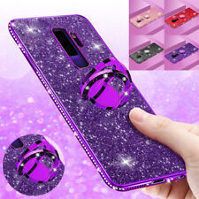 For Samsung S9+/A6/A8 Note9 Plating Bling Glitter Diamond Ring Holder Case Cover