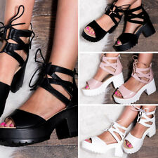 a925331a7ee SPYLOVEBUY RAVE LACE UP CLEATED SOLE BLOCK HEEL SANDALS SHOES