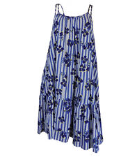 Ex M&S Ladies Blue and White Stripe Floral Summer Strappy Beach Dress Size 6-18