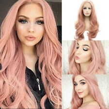 Femme Rose Perruque Cheveux Longue Ondulee Boucles Cosplay Synthetic Cheveux