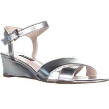 Nine West Laglade Criss Cross Wedge Sandals, Silver