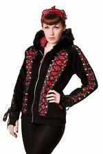 Red Tartan Corset Lace Gothic Punk Emo Rockabilly Faux Fur Hoodie Banned Apparel