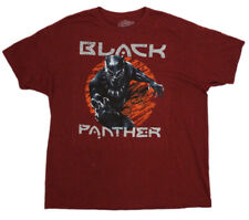 Black Panther Men's T-Shirt (XXL)-Comic Book Graphic Marvel Red Heather New !