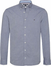 Tommy Hilfiger Heather Oxford Mens Shirt Long Sleeve - Maritime Blue All Sizes
