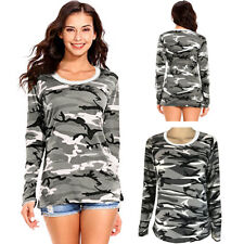 Women Camouflage Long Sleeve Casual T-Shirt Ladies Crew neck Stretch Top Blouse