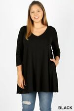 V - NECK FLARED TOP WITH SIDE POCKETS - Plus Size - 3/4 Sleeves - Black