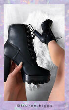 IKRUSH Womens Ayda Faux Leather Lace Up Heeled Boots