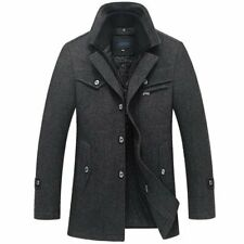 Men's Coat Long Wool Thick Windbreaker Casual Trench for Winter