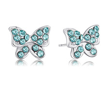 Buyless Fashion Girls Butterfly Stud Earrings Silver Surgical Stainless Steel