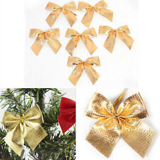 12X Christmas Tree Bow Decoration Baubles XMAS Party Garden Bows OrnamentFEH