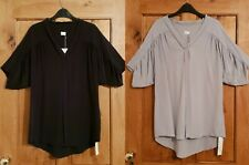 POETRY 100% PURE SILK V NECK TUNIC BLOUSE TOP LADIES WOMENS BLACK GREY SIZE 14