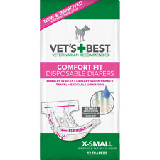 Vet's Best Comfort Fit Disposable Female Dog Diapers with Wetness Indicator, X-S
