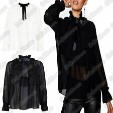 Ladies Long Sleeve Ruffle Frill Tie Up Pussy Bow Chiffone Blouse Party Shirt Top
