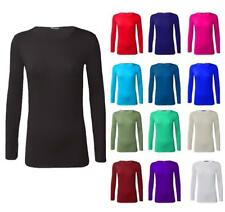 New Ladies Women Plain Fitted Long Sleeve Crew Neck T-Shirt Top UK 8-26