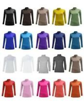 New Ladies Women Plain Fitted Long Sleeve Polo- Neck T-Shirt Top UK 8-26