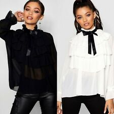 New Women's Ladies Ruffle Frill Layered High Neck Pussy Bow Party Blouse Top