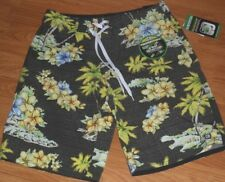 *DISTORTION BOARD SHORTS SWIM SIZE S - M BLACK FLORAL PRINT 4 WAY STRETCH NWT