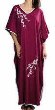 Ladies One Size Kaftans Floral Embroidered Satin Edging Full Length 9986