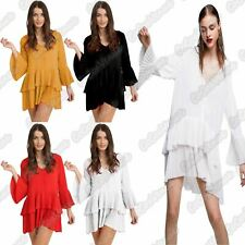 New Ladies Bell Sleeve Pleated V Neck Button Ruffle Frill Summer Mini Dress Top
