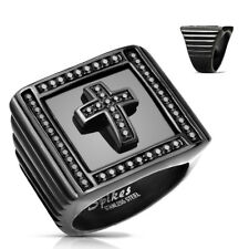 Seal Ring Made of Stainless Steel in Black with cross and Zirconia Black Inset