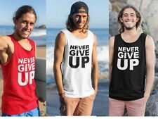 MENS NEVER GIVE UP   VEST TANK TOP SHIRT   TEE  HOLIDAYS LIVERPOOL MADRID 2019