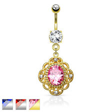 Bellybutton Piercing Surgical Steel Pendant Floral Design with Cubic Zirconia