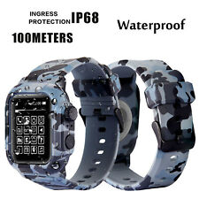 For Apple Watch Series 5 4 3 2 Band 42/44 Camouflage IP68 Protect Silicone Cover