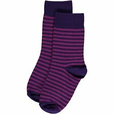 Maxomorra organic cotton purple stripy tights