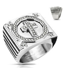 Seal Ring Made of Stainless Steel in Silver with cross and Zirconia Clear Inset