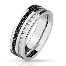 Stainless Steel Finger Ring with Eingelassener Chain and Zirconia Black Silver